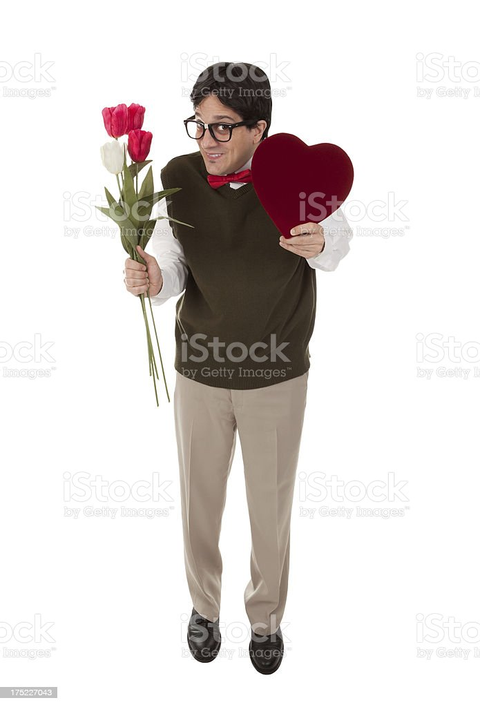 Cute Nerd With Valentine and Flowers royalty-free stock photo