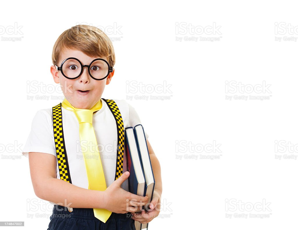 Cute nerdy looking kid with books royalty-free stock photo