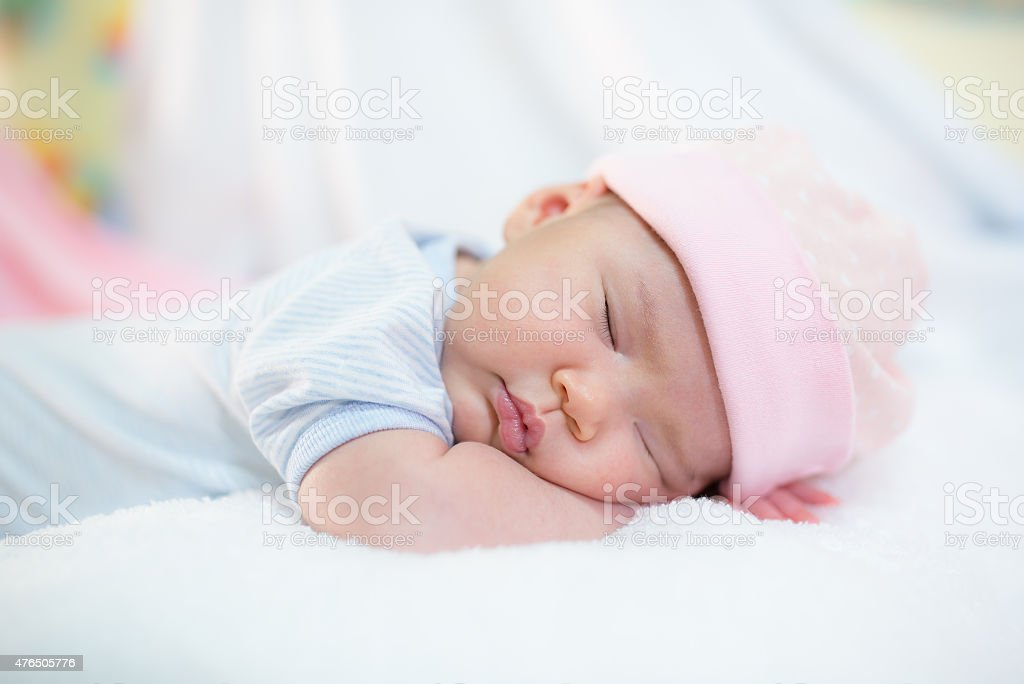 Cute newborn baby stock photo