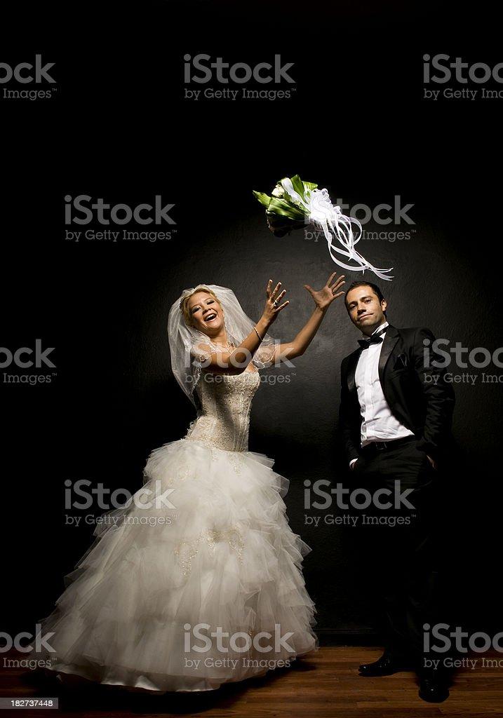 Cute newlywed couple stock photo