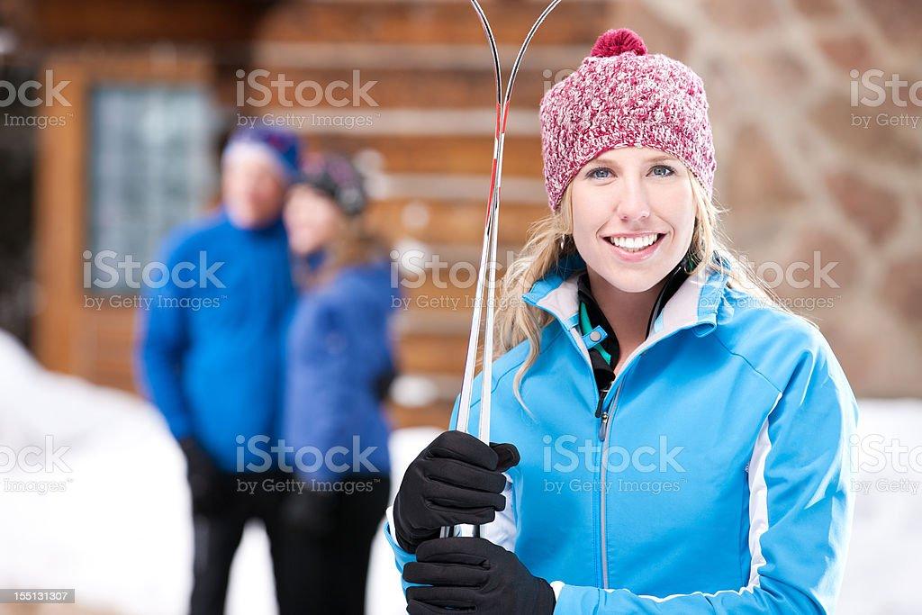 Cute Nordic Skier Girl royalty-free stock photo