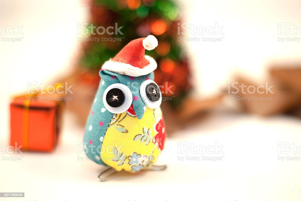 cute owl christmas deorations stock photo
