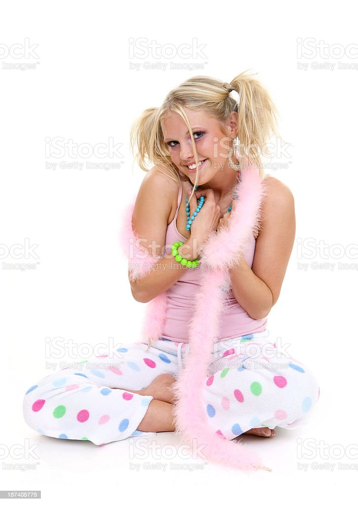 Cute Pajama Girl stock photo