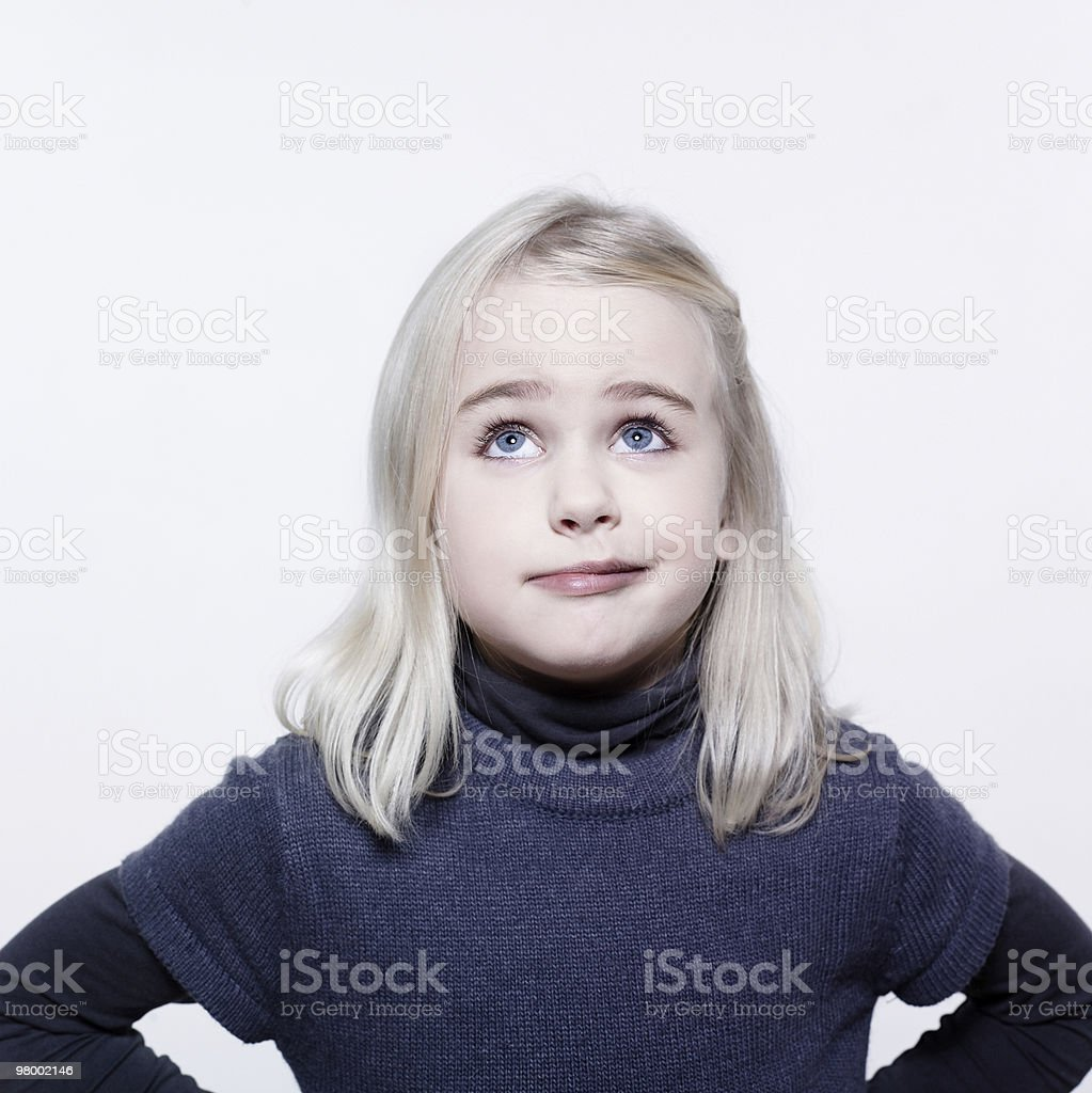 cute pensive little girl royalty-free stock photo