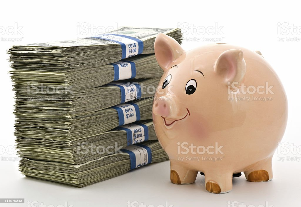 Cute Piggy Bank with Money royalty-free stock photo
