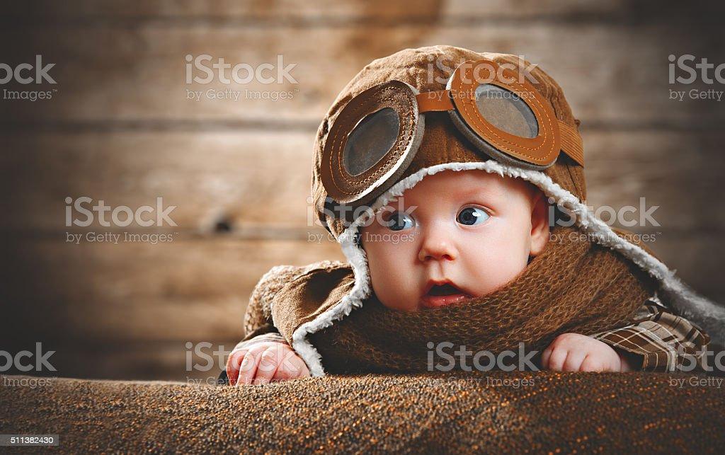 cute pilot aviator baby newborn stock photo