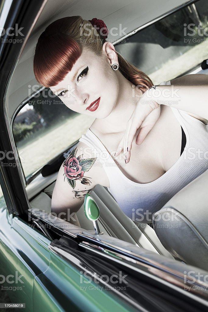 Cute pin-up girl stock photo