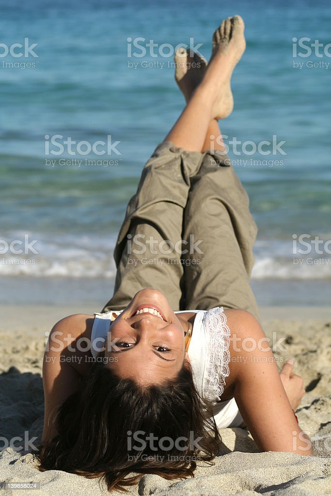 cute pose on the beach royalty-free stock photo