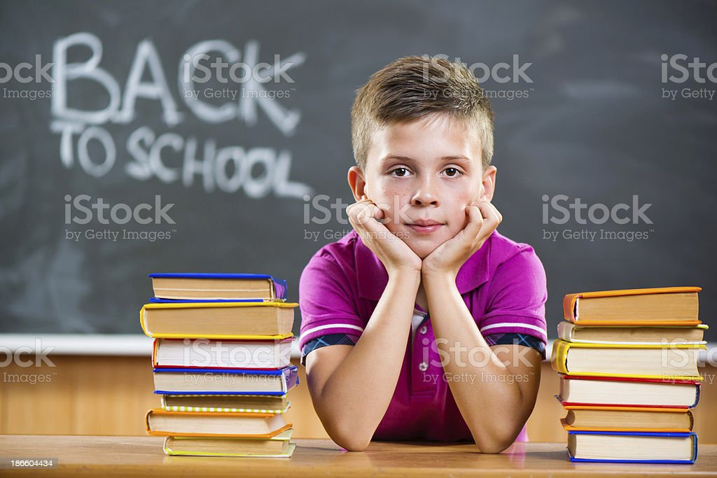 Cute pupil with books in classroom royalty-free stock photo