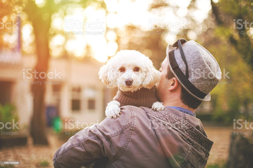 Cute puppy and young hipster stock photo