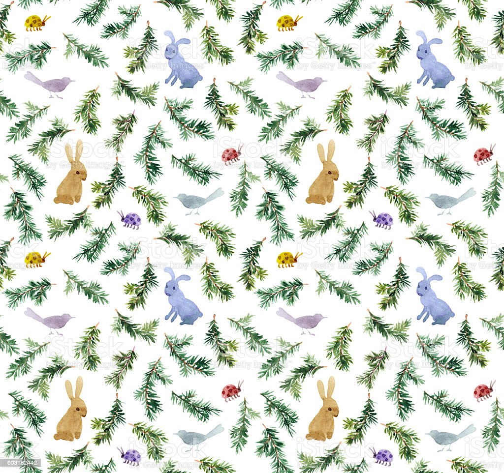 Cute rabbits, birds, branches christmas tree. Seamless pattern. Watercolor stock photo