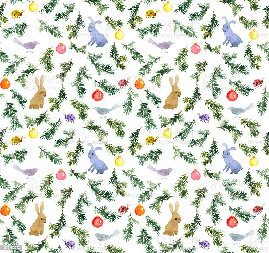 Cute rabbits, birds, christmas tree, baubles. Seamless pattern. Watercolor stock photo