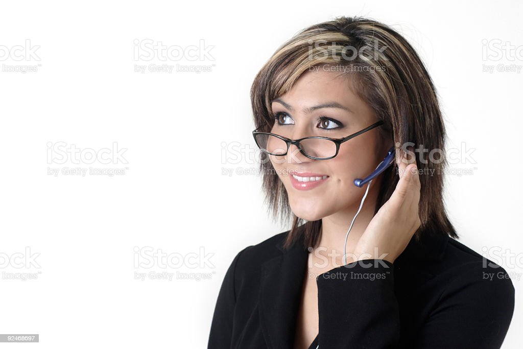 Cute receptionist with dimples royalty-free stock photo