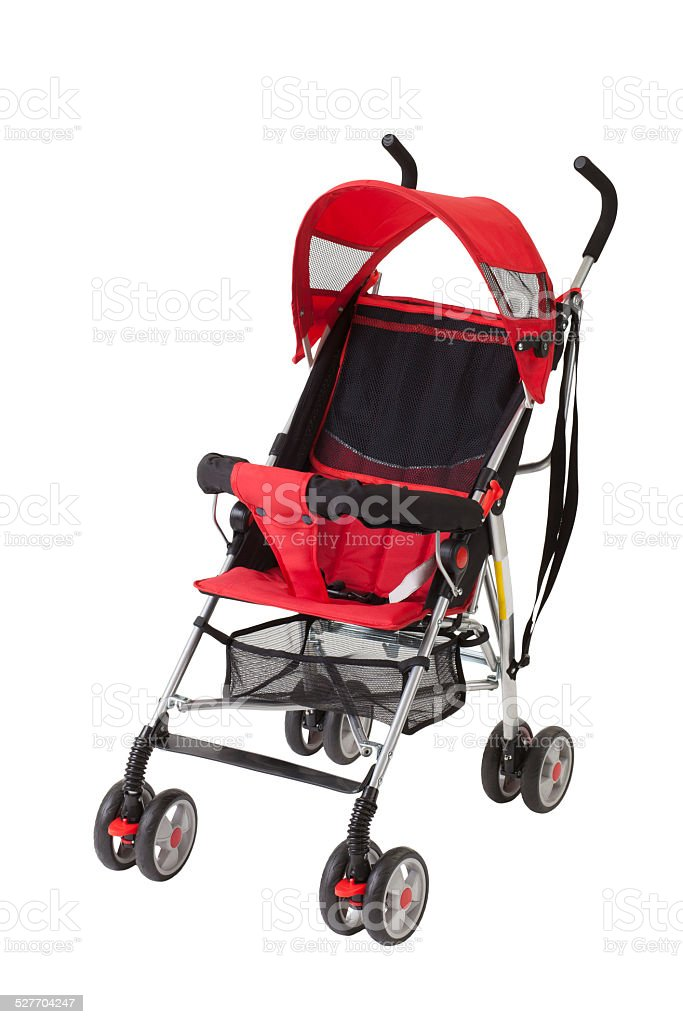 cute red baby pram stock photo