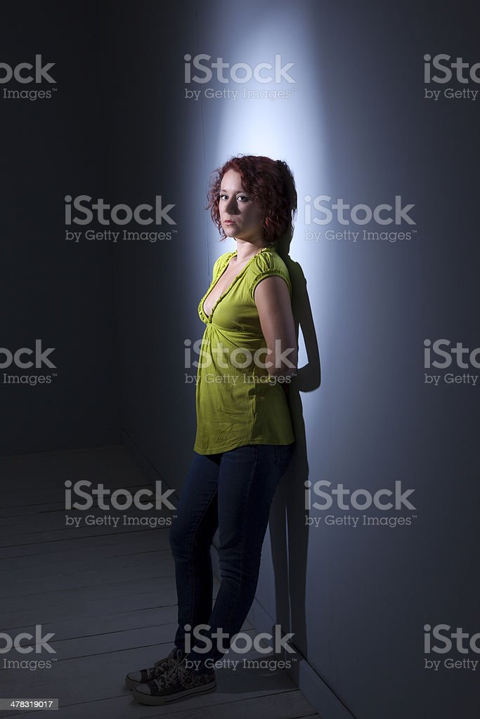 Cute Redhead Wearing A Green Blouse royalty-free stock photo