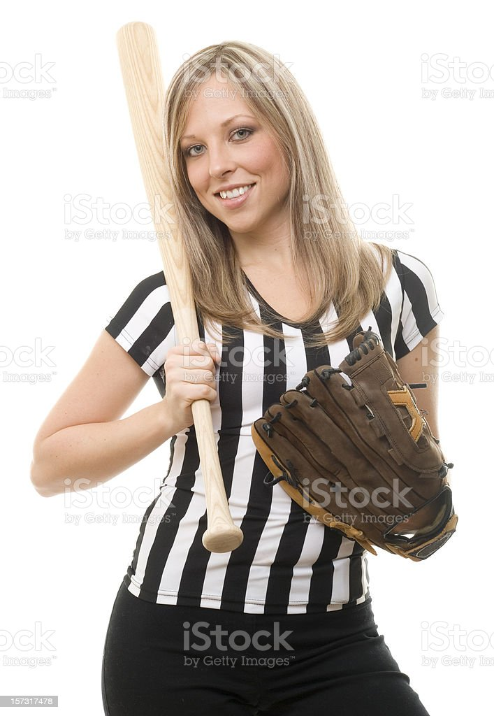 Cute Referee Holding Baseball Bat royalty-free stock photo