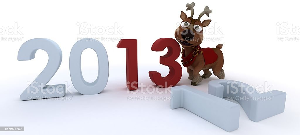 cute reindeer charicature bringing in the new year vector art illustration