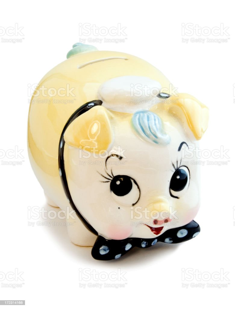Cute retro piggy bank royalty-free stock photo