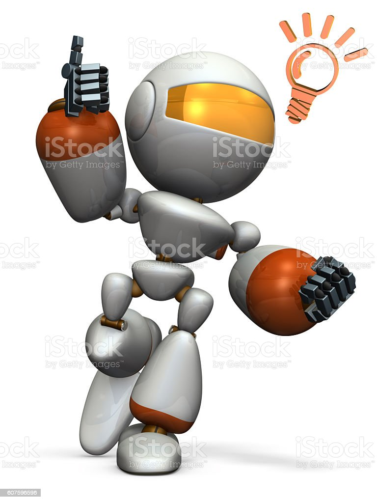 Cute robot came up with a good idea. stock photo