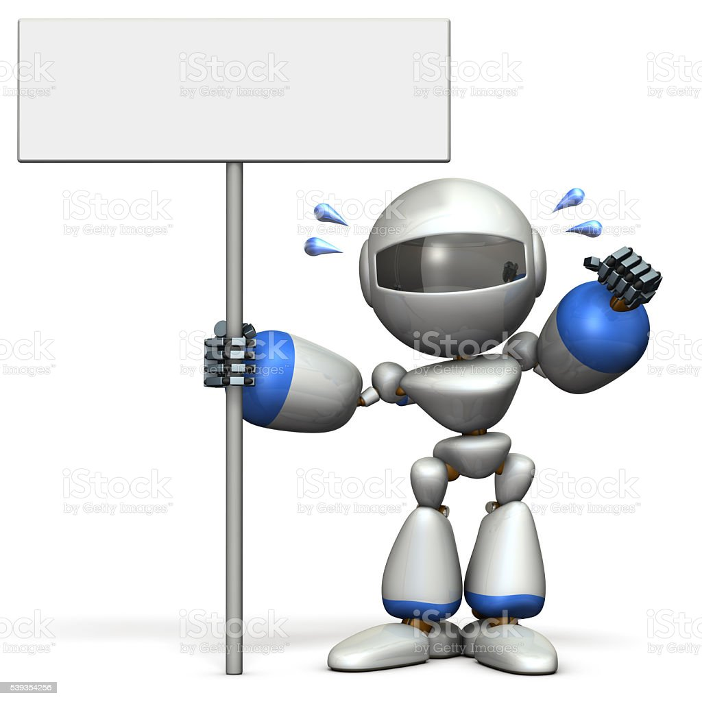 Cute robot has a display intention. stock photo