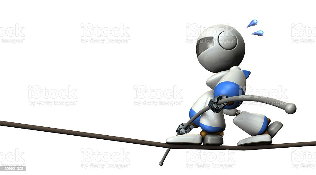 Cute robot has a tightrope. stock photo