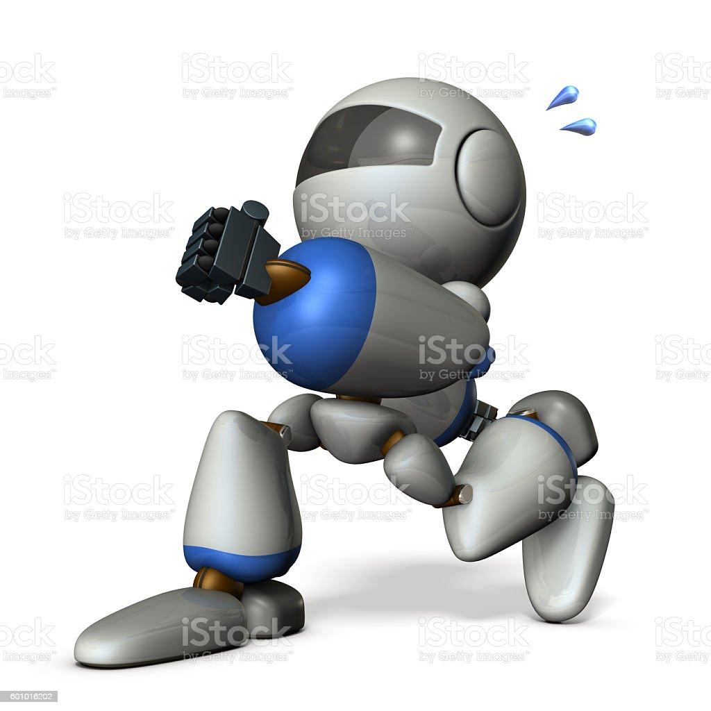Cute robot has run away secretly. stock photo