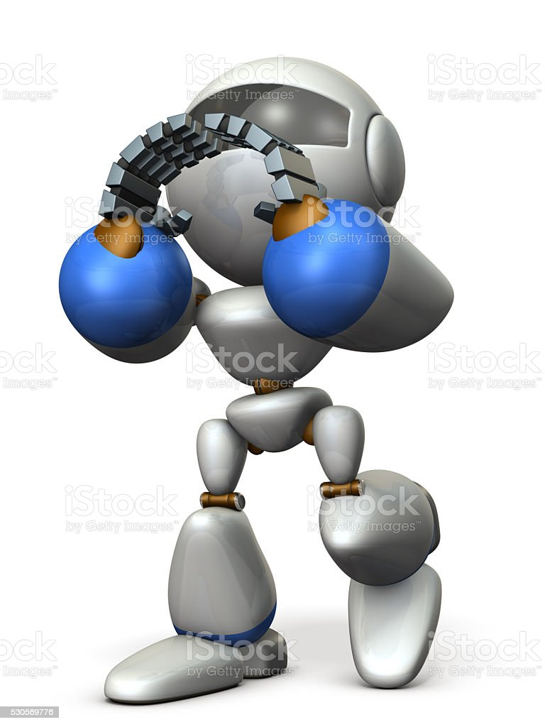Cute robot has to support someone. stock photo