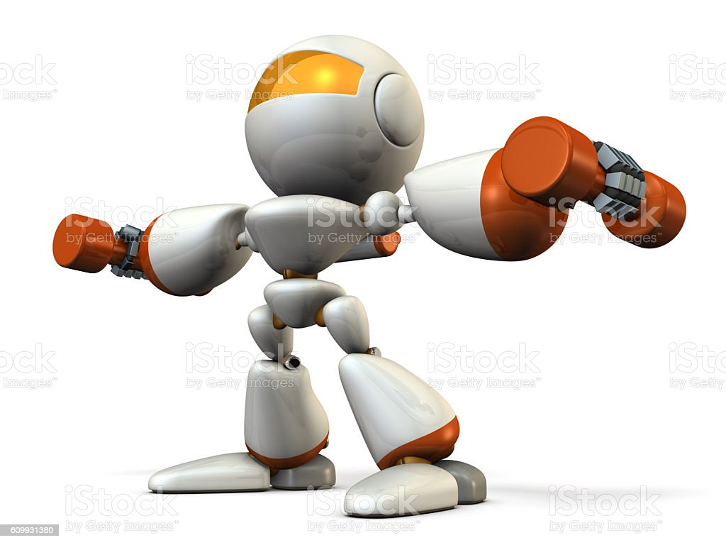 Cute robot, have tempered the body with dumbbell. stock photo