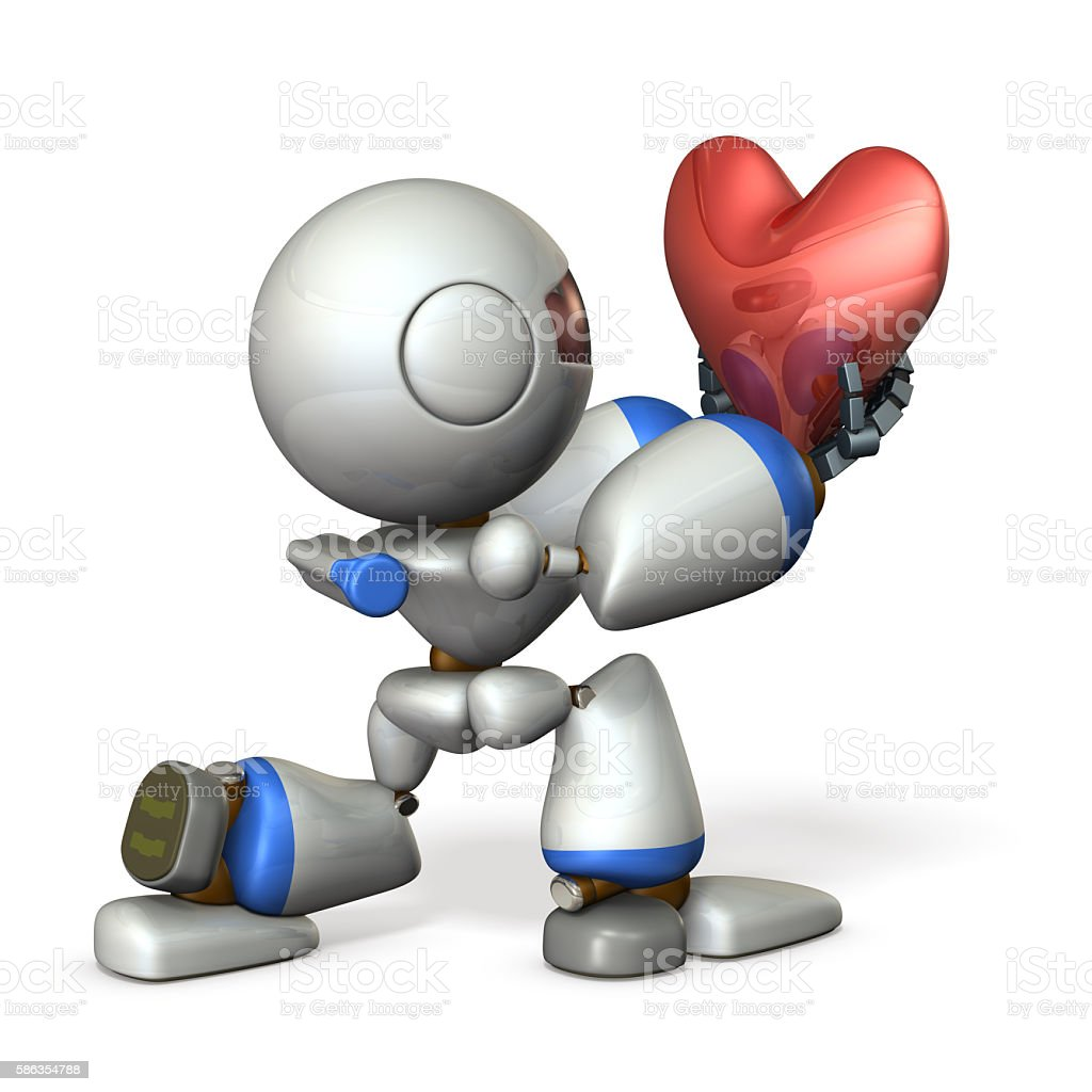 Cute robot hold out his sincerity. stock photo