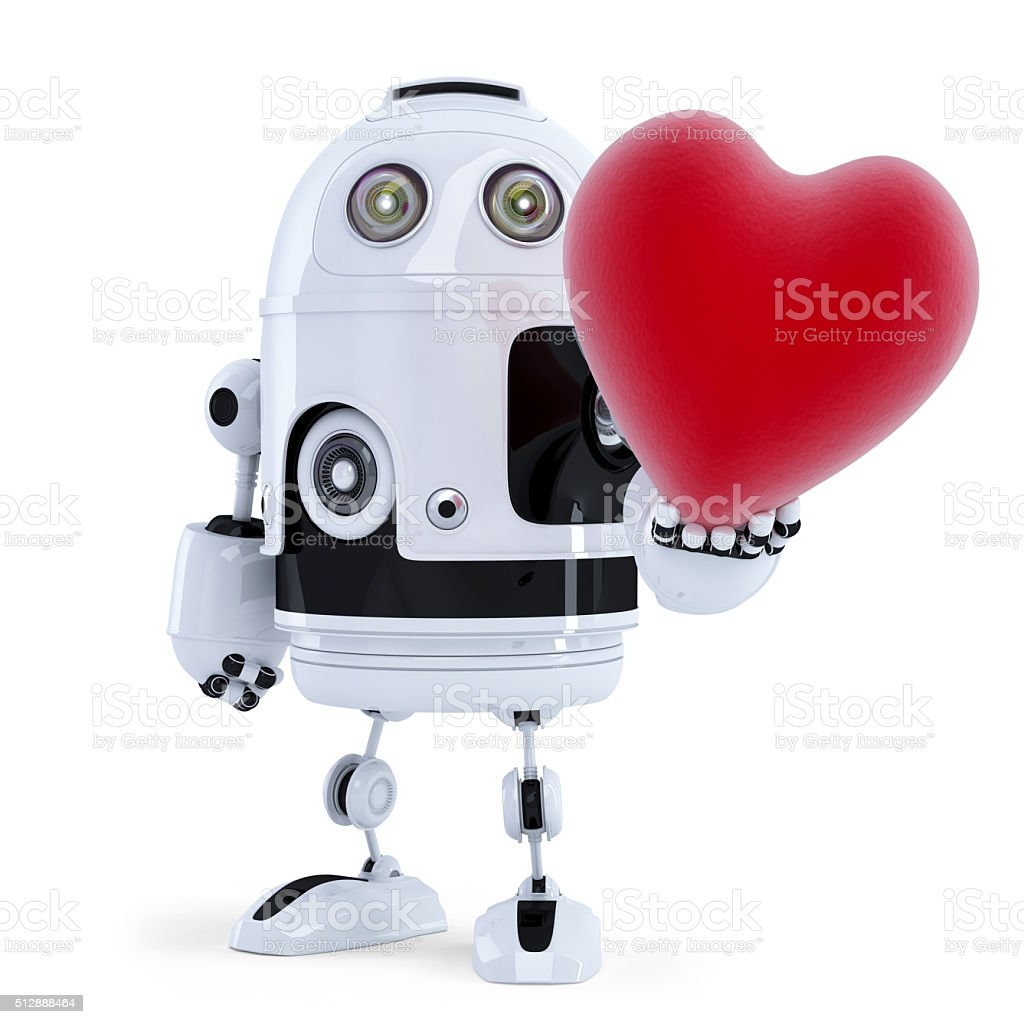 Cute robot holding a big red heart. Isolated stock photo