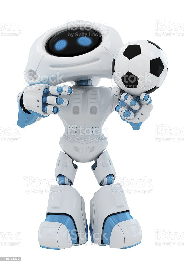 Cute robot holds ball royalty-free stock photo