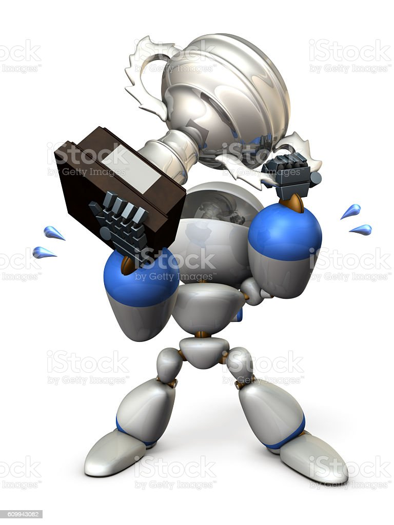 Cute robot is holding a cup. stock photo