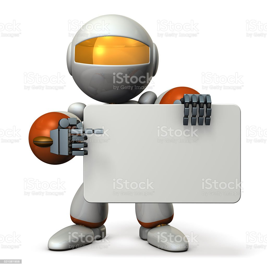 Cute robot is pointing something with the message board. stock photo