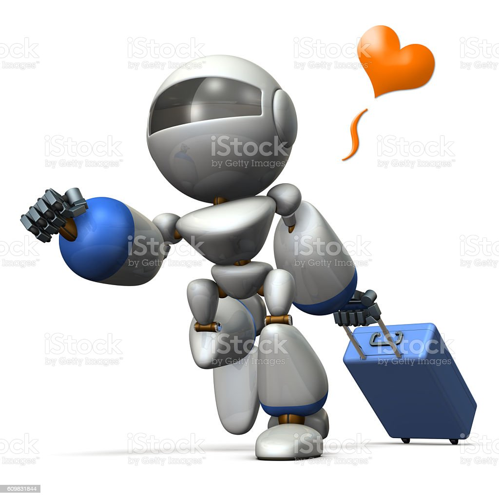 Cute robot is starting to travel. stock photo