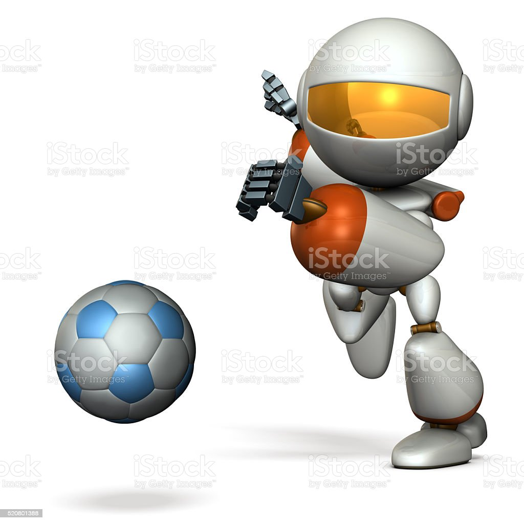 Cute robot is trying to kick a soccer ball. stock photo