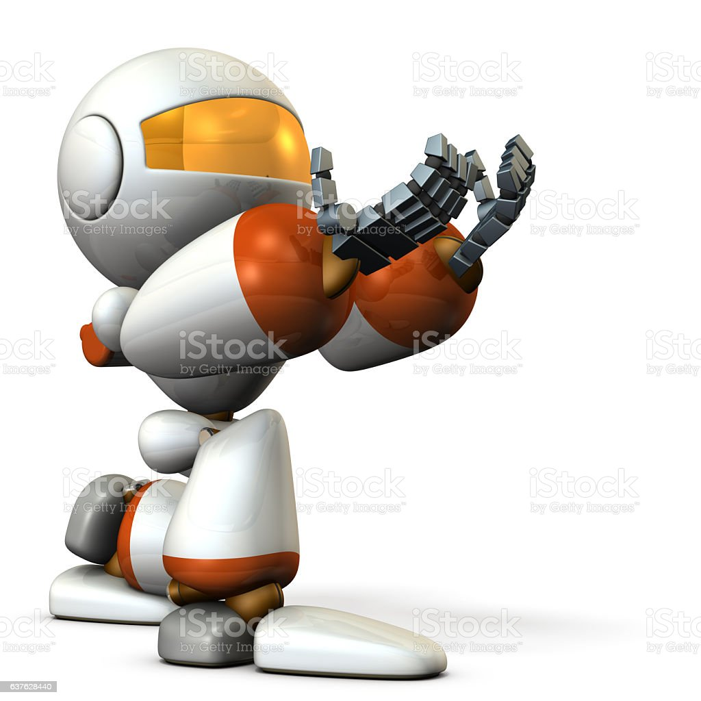 Cute robot kneeling is receiving something. stock photo