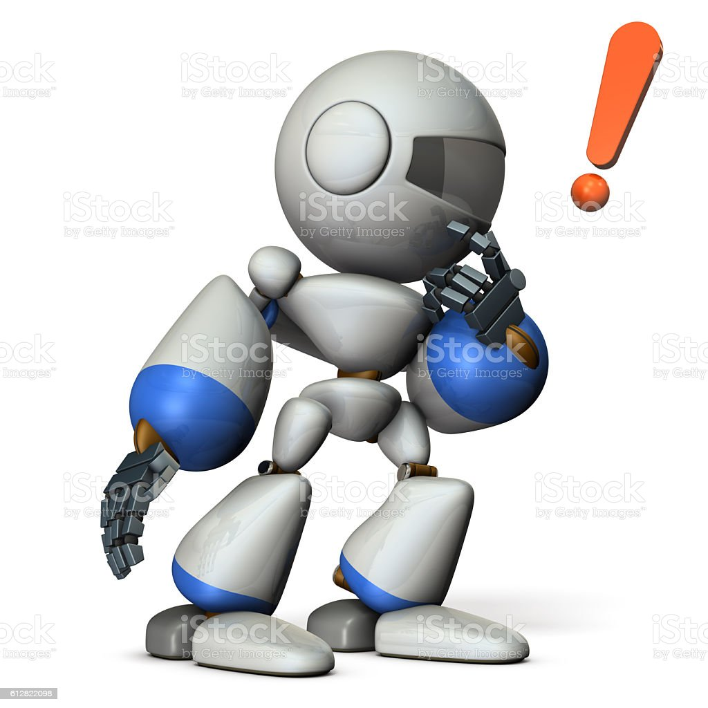 Cute robot makes a carefully listen. stock photo