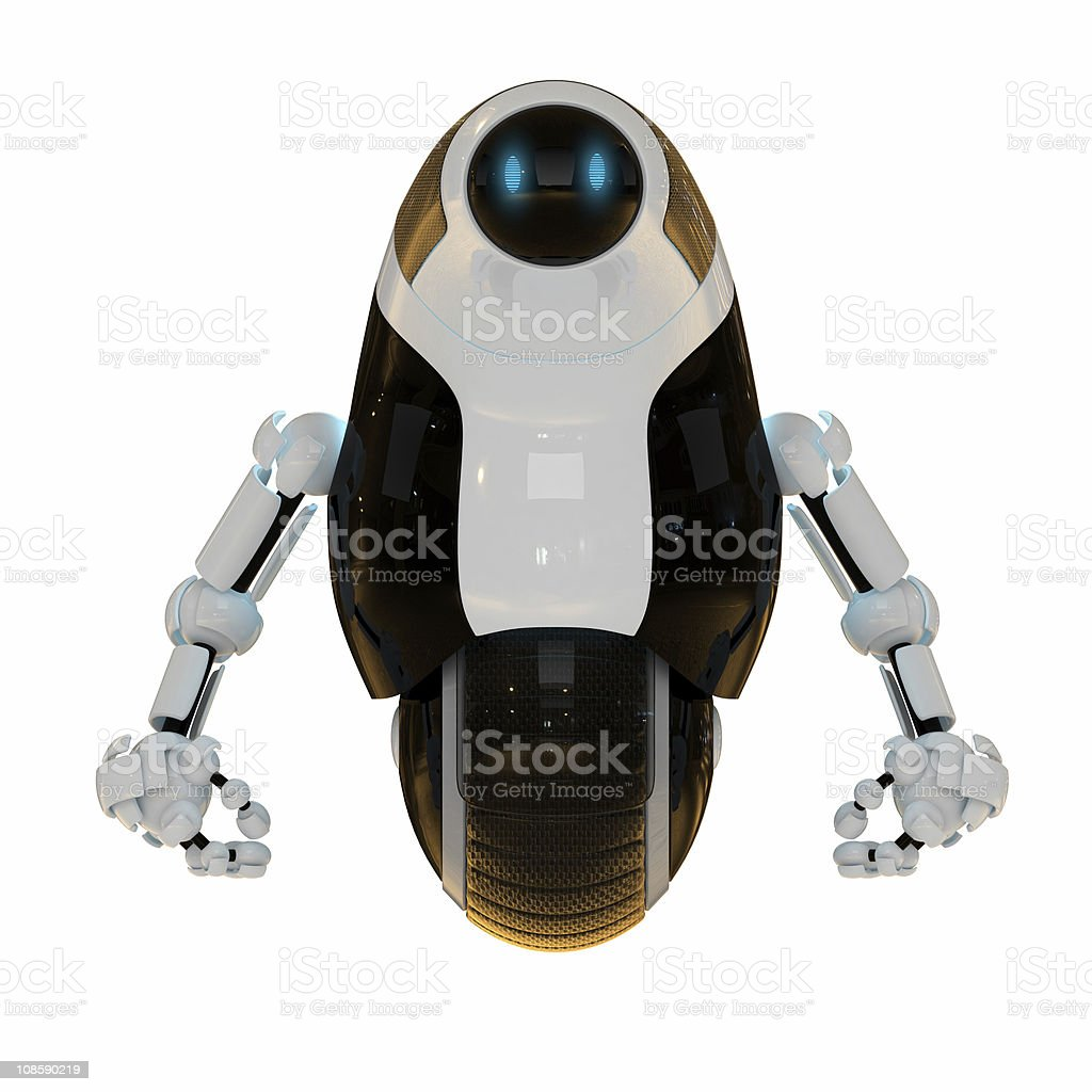 Cute robot on one wheel royalty-free stock photo
