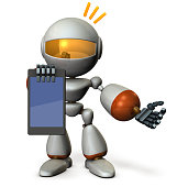 Cute robot presents information on the tablet PC.