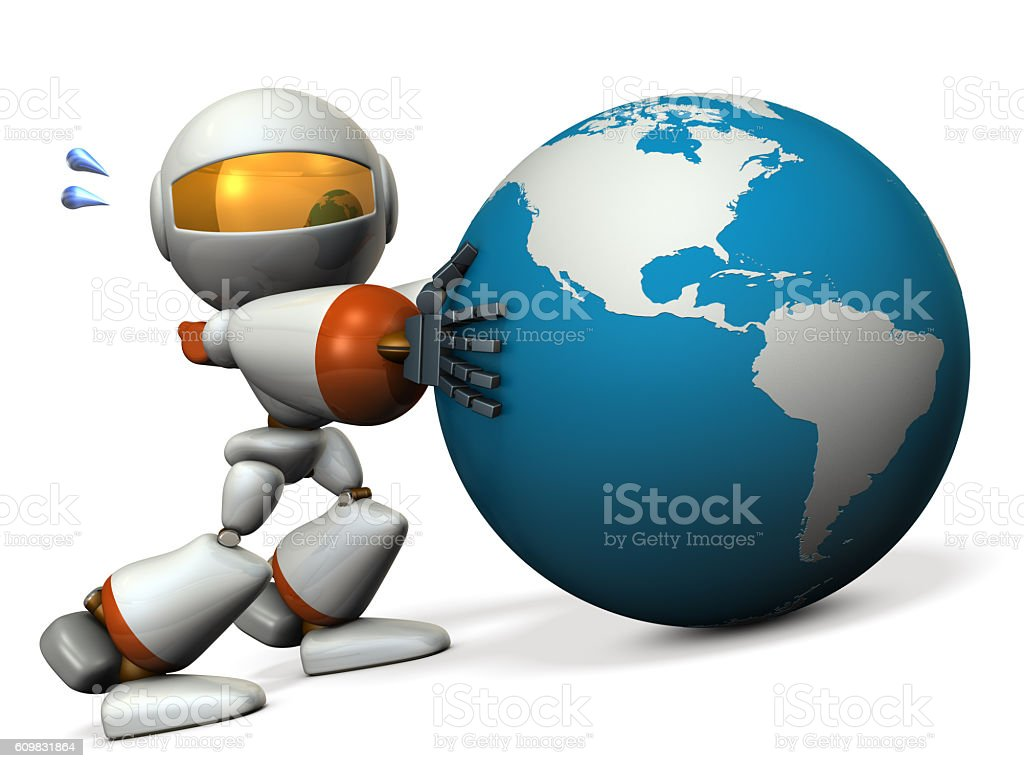 Cute robot protects earth. He will prevent the falling. stock photo