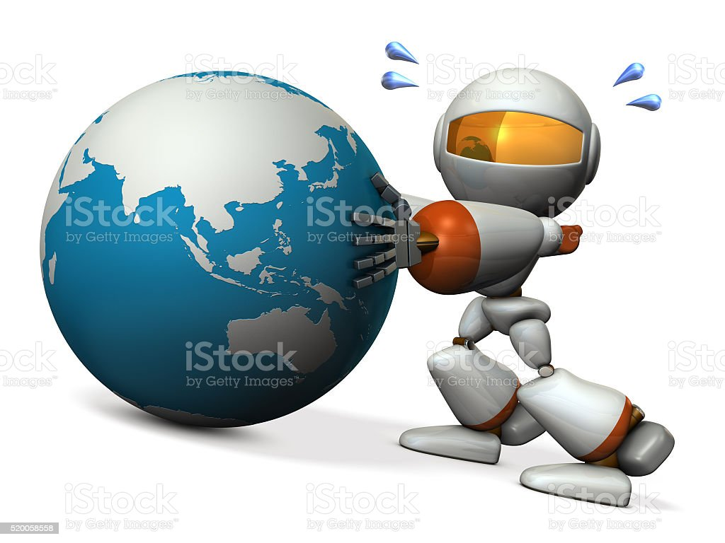 Cute robot protects the Asia. He will prevent falling. stock photo