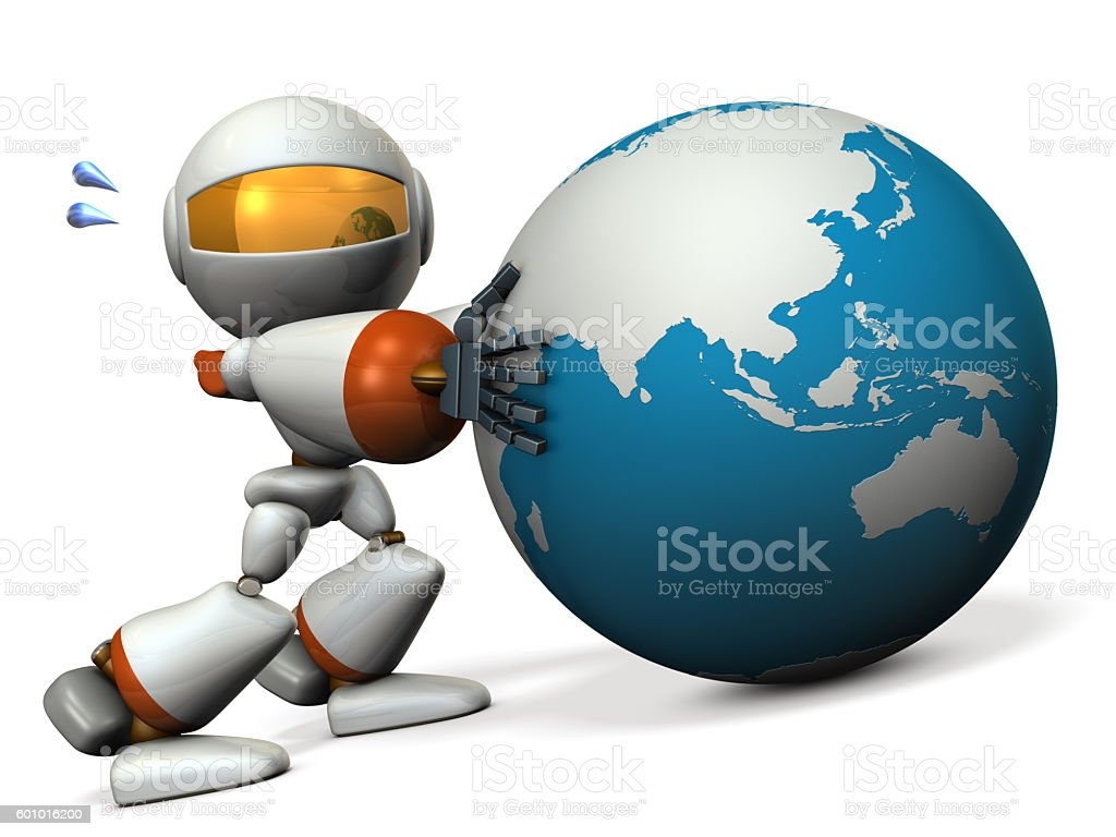 Cute robot protects the Asia. He will prevent the falling. stock photo