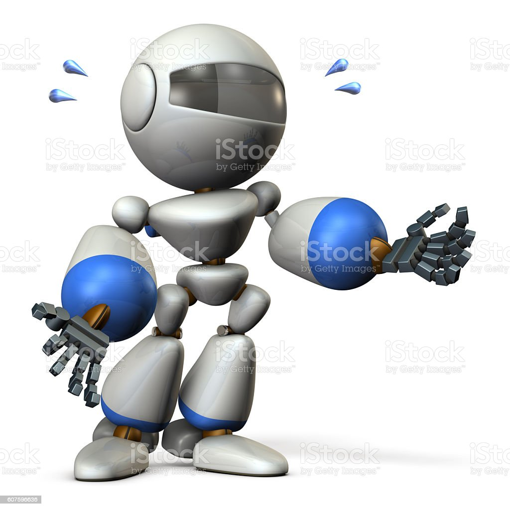 Cute robot resists desperately. stock photo