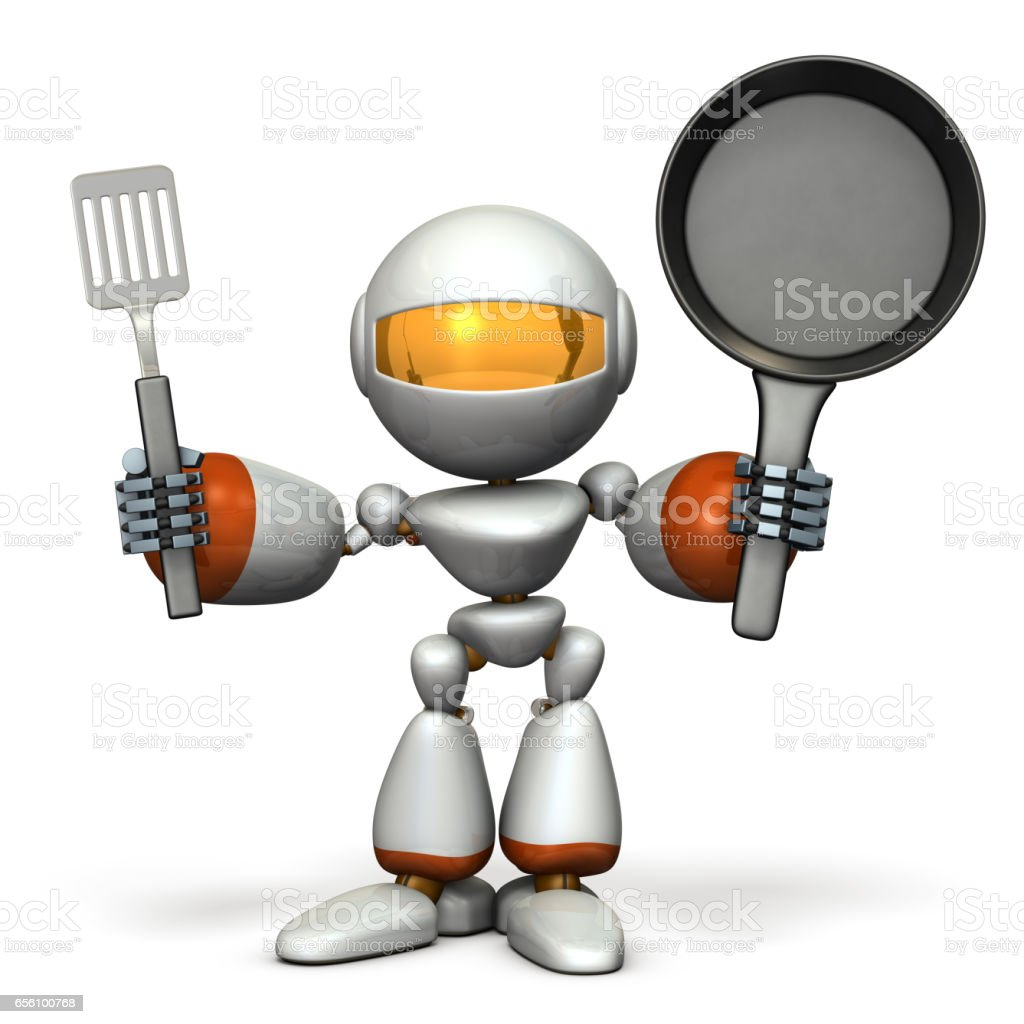 Cute robot to challenge cooking stock photo
