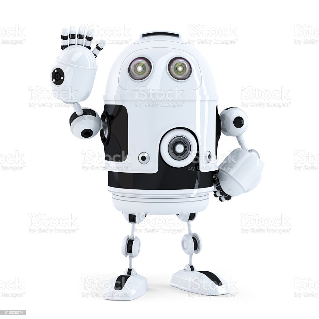 Cute robot waving hello stock photo