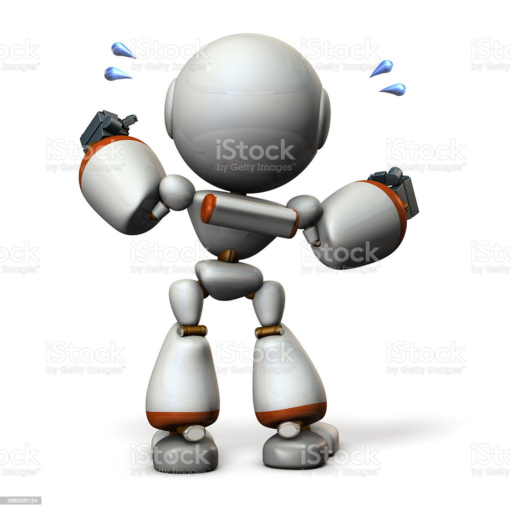 Cute robot will cheer hard. stock photo