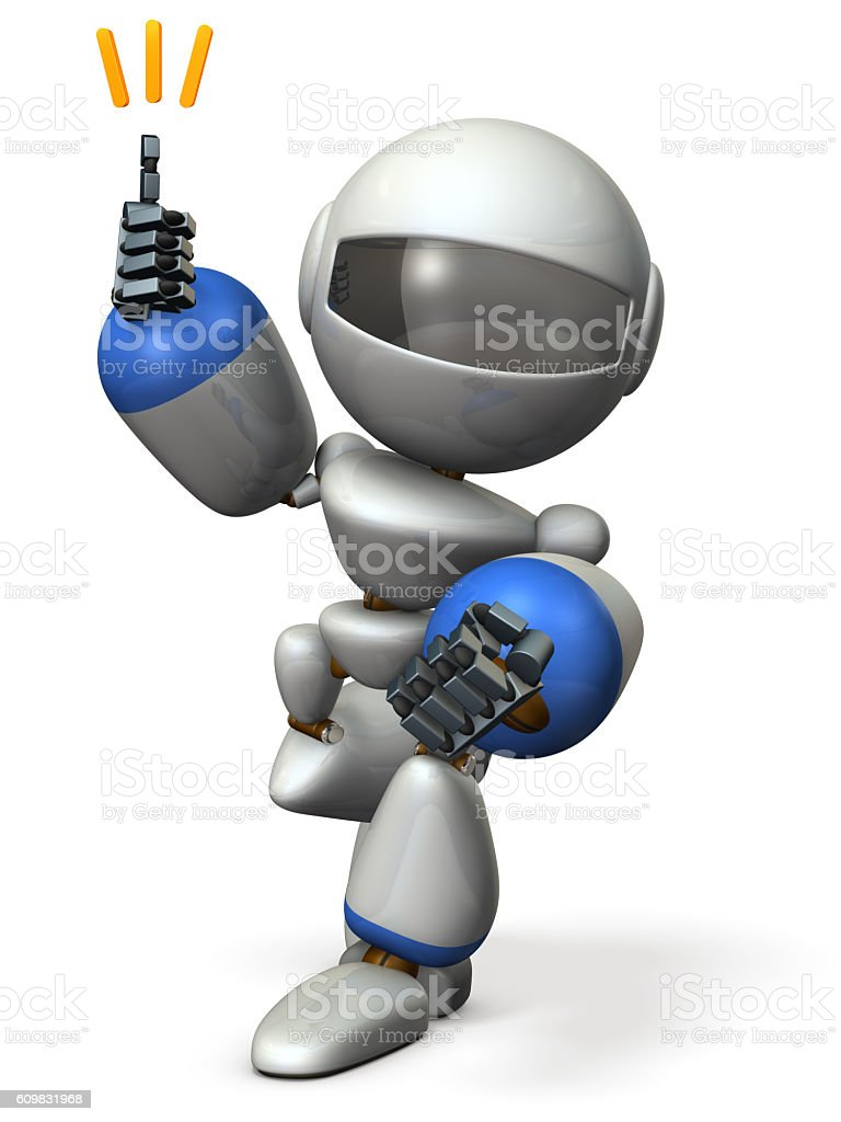 Cute robot will come happily rushed. stock photo