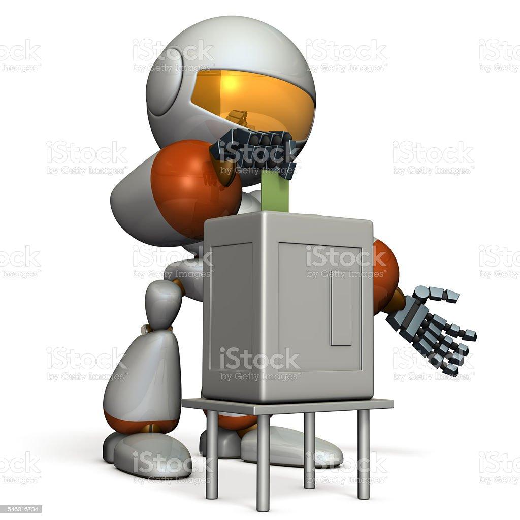 Cute robot will vote. stock photo