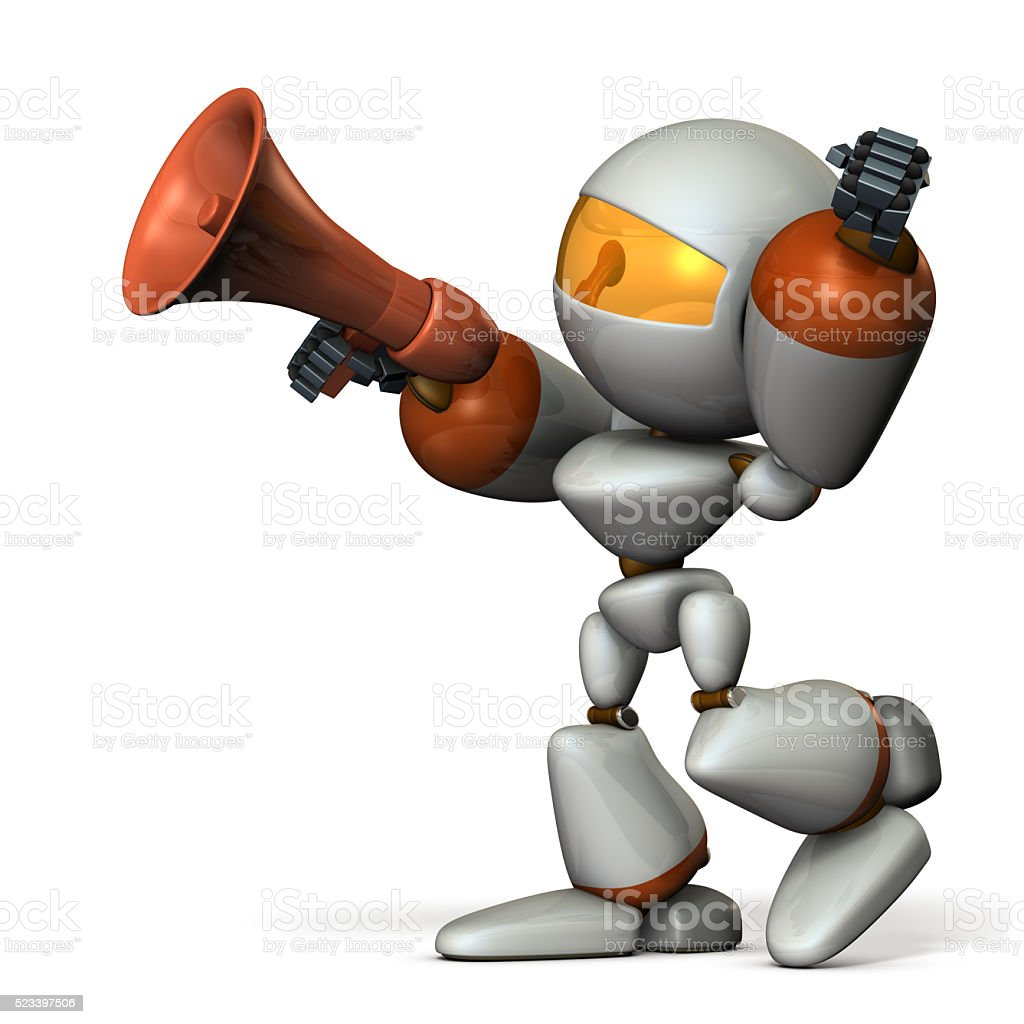 Cute robot with a loudspeaker, are cheering. stock photo