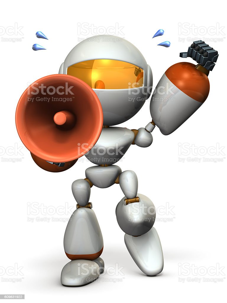 Cute robot with a loudspeaker is cheering. stock photo